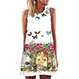 JUTOO Vintage Boho Frauen Sommer Sleeveless Strand Printed Short Mini Dress(Weiß -2, EU:38/CN:M)