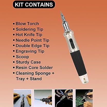 KKmoon Hs-1115K 10 En 1 Profesional Butano Estilo Pluma Juego de Hierro Fundido Gas Kit Soldadura 26 Ml Antorcha