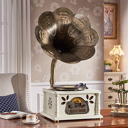 Retro Trompa Giradiscos Reproductor de discos de vinilo Giradiscos Trompeta de cobre Máquina de música Máquina de discos Fonógrafo de época Reproductor de discos Altavoces Bluetooth Plato giratorio Co