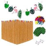 Gonna da tavolo, Decorazioni Flamingo Party Banner Green Palm Leaves Fiori hawaiani per l'estate Beach Wedding BBQ Tropical Garden Tiki Carnival Party