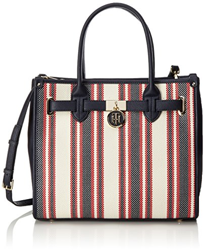 Tommy Hilfiger Damen American Icon Tote Canvas Stripe, Blau (RWB Canvas Stripe), 20x28x32 cm (- Icon-canvas-tote)
