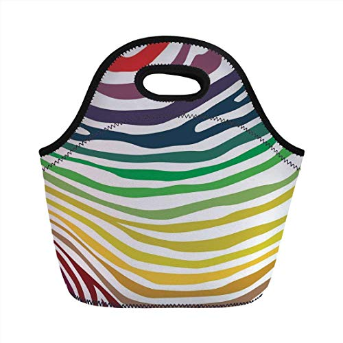 Portable Bento Lunch Bag,Zebra Print,Colorful Zebra Stripes Pattern in Cheering Rainbow Color Modern Style Art Decorative,Red Yellow Green,for Kids Adult Thermal Insulated Tote Bags Zebra Color Inc