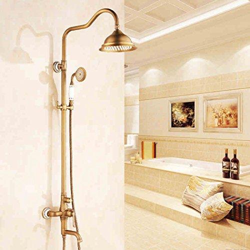 LD&P All-Kupfer-europäische Dusche An der Wand befestigter justierbarer Duschehalter für Badezimmer-Dusche-Set, Wasserhahn Vintage Dusche Antik vergoldet (Vintage Dusche Wasserhahn)