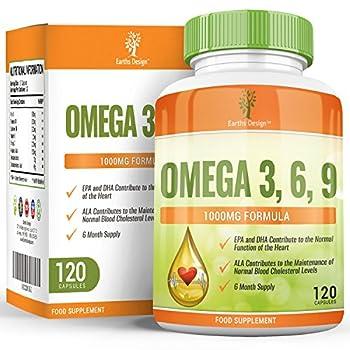 Oméga 3 - 1000mg Huile de Poisson Oméga-3 - Omega 3 Fish Oil - Avec Huile de Lin et Huile de Tournesol - Haute Teneur en EPA DHA pour Hommes et Femmes - 120 Capsules (2 Mois de Stock) de Earths Design