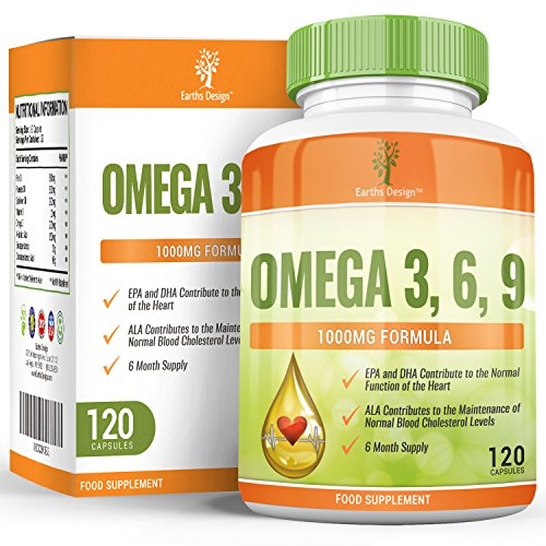 Omega-3-1000mg-Omega-3-Fischl-Mit-Flachsamenl-Sonnenblumenl-Vitamin-E-Hoch-Potentes-EPA-DHA-fr-Frauen-und-Mnner-120-Kapseln-2-Monate-Vorrat-von-Earths-Design