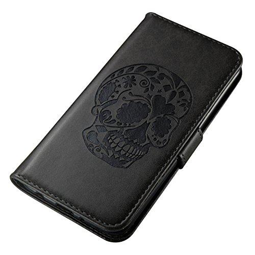 iPhone 6 / 6S Coque,Bleu 3D Crâne noir Portefeuille Fermoir Magnétique Supporter Flip Téléphone Protection Housse Case Étui Pour Apple iPhone 6 / 6S + Deux cadeau black