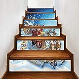 Treppenaufkleber Weihnachten Verkleiden Sich Persönlichkeit Treppen Aufkleber Santa Kutsche Schnee Wandaufkleber 18CM*100CM*6 Stück