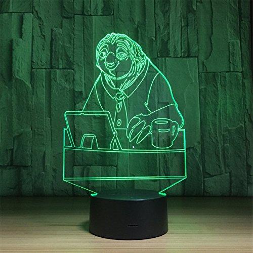 USB Angetrieben Faultier 3D Touch optische ILLusion Nachtlicht atemberaubende visuelle Wirkung 7 Farben Tisch Schreibtisch Deco Lampe Schlafzimmer Kinderzimmer dekorative Nachtlicht Spielzeug Urlaub Geschenke