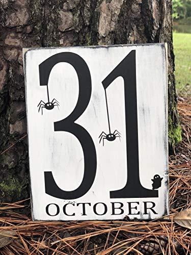 Monsety Holzschild zum Aufhängen, Aufschrift Oktober, 31 Halloween, Hüttendekoration, Geschenk