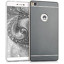 kwmobile Funda protectora rígida para Huawei P8 con parte trasera de aluminio y marco de silicona TPU - carcasa en gris