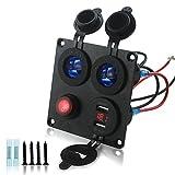 VORCOOL Blaue LED Light Auto Socket mit USB Voltmeter Ladegerät Adapter mit roter Anzeige für Auto Boot