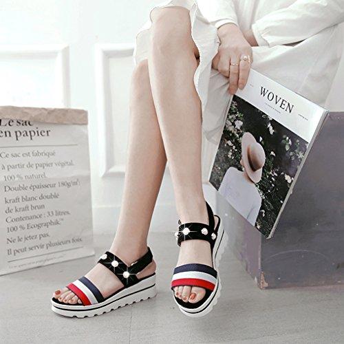 Oaleen Sandales Bout Ouvert Femme Talon Compensé Lanière Chaussures Eté Plateforme noir classique