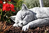 Stone figurine sleeping Cat,handmade, frost-proof, Made in Germany