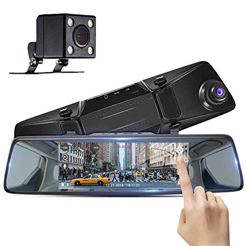 NZNNXN Spiegel Dash Cam mit Rückfahrkamera 1080p Dual Dash Camera für Autos Vorne Hinten 7 Zoll Touchscreen G-Sensor Loop Record Park Monitor (Park Hinten Sensor)