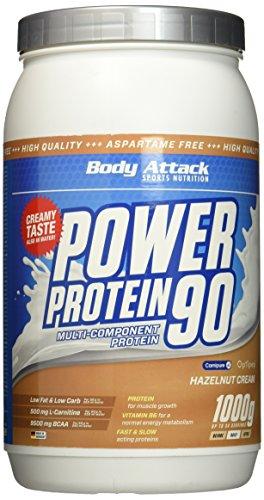 Body Attack Power Protein 90 - Low Fat - 85{326cfa005d95baf8162c062c173b112aecb39ddd4ee5ead6451c8947a3ce8786} Eiweiß - 500mg L-Carnitine (Hazelnut Cream, 1 kg)
