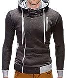 BetterStylz Mecol Herren Kapuzenpullover Sweatjacke Jacke Pullover Hoodie Sweatshirt div. Farben (S-XXL) (L, Dunkel Grau/Grau)