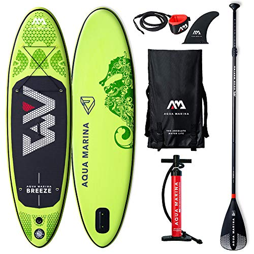 AM Aqua Marina Breeze Stand Up Paddle Board 9.0� Grün aufblasbar iSUP im Set, 275 x 76 x 12 cm