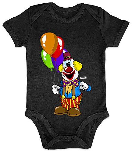 HARIZ Baby Body Kurzarm Clown Luftballons Fröhlich Karneval Kostüm Plus Geschenkkarten Pinguin Schwarz 3-6 Monate