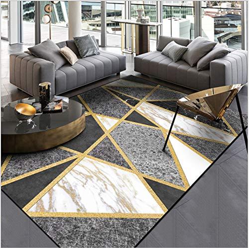 Stilvolle Moderne Teppich Schwarz Und Weiß Grau Marmor Gold Line Cross Fußmatte Schlafzimmer Wohnzimmer Bettmatte 120 X 200 cm
