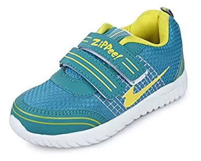 TRASE Zippie-HY Sea-Green/Yellow Kids Sports Shoes for Boys-Girls-10C IND/UK