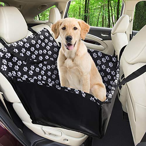 Funpet Refuerzo de Coche para Perros, Fundas de Asiento de Perro a Prueba de Agua Manta de Auto para Mascotas con cinturón de Seguridad para Perro(68 x 57 x 33 CM)