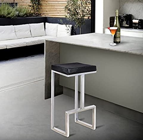 Store Indya Modern Iron Bar Stool Table 47 cm Long with Leather Cushion Seat Kitchen Dining Counter Height Chair Stool Indoor Outdoor Home Bar Furniture