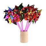Lot de 10moulinettes colorées Dairyshop - En plastique - Fournitures de mariage, fêtes - Pour enfants
