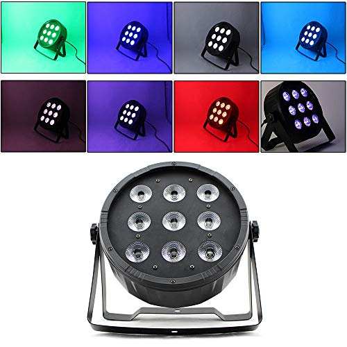 9 LED RGBW PAR-64 Spot DMX Scheinwerfer Club Wash Disco Auto Run-Modus 10W NEU