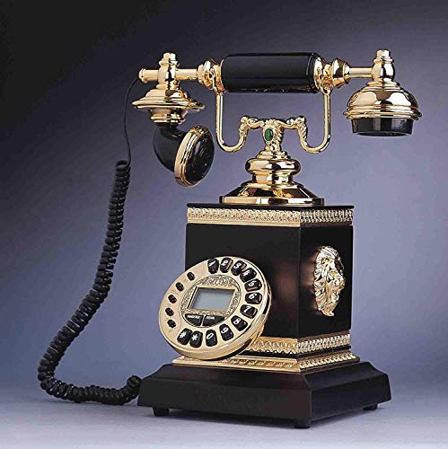 Wghz Telefonie-Landhaus-europäisches antikes Telefon, Retro Haus, amerikanisches kreatives Metall, festes Holz, klassisches Luxustelefon, schwarz - Antik-schwarzes Holz