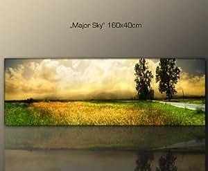 wandbild 160x40cm natur major sky 160x40 cm wohnzimmer stil bilder fertig gerahmt mit. Black Bedroom Furniture Sets. Home Design Ideas
