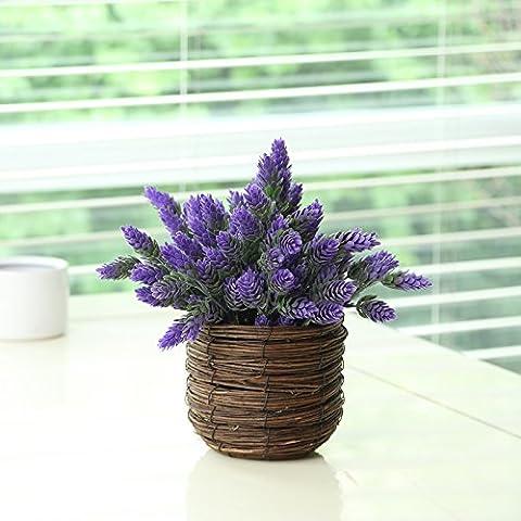 ShiQi Fiori artificiali Giardino Soggiorno in vaso cesto di bambù Viola per la festa di nozze decorazione per