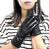 Yidainline Damen Klassische Touchscreen Lederhandschuhe aus Echt Lammleder, Gefüttert aus Kaschmir Winter Handschuhe Schwarz (M)