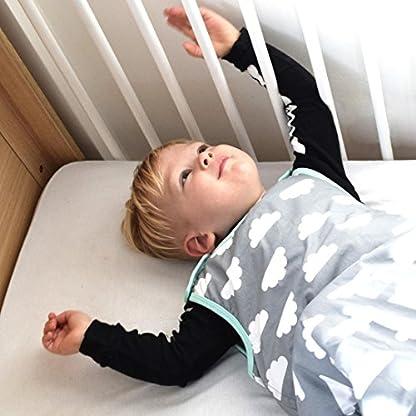 512XYtrH53L. SS416  - Saco de dormir para bebés de 6 a 18 meses, de la marca Babasac. Diseño de nubes, color gris y turquesa