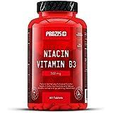 Prozis Niacine vitamine B3 pure en gélules (500 mg) - Complément de première qualité pour la croissance et la récupération musculaires, la santé cardiovasculaire et cognitive - 60 gélules !