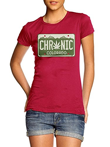 Chronic Colorado License Plate Womens Red Girly Tee