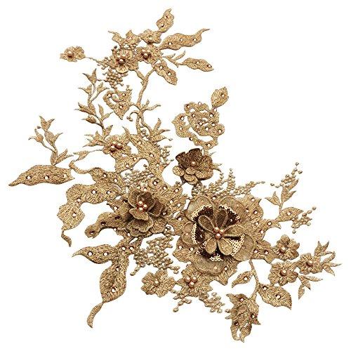 D Blumen Spitze Applique Frauen Kleid Dekor Floral Patch Kostüm(Color4) (Perlen Applikationen Für Kostüme)