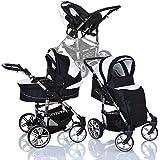 LCP Kids 134 TENDO 3in1 Kombikinderwagen - Babywanne - Buggy - Babyschale Gr. 0 - XXL Komplettset in Black/White