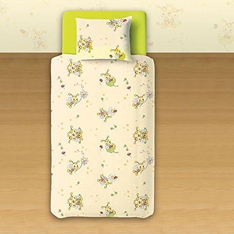 Les petites abeilles - SoulBedroom Linge de lit pour bébé (Housse de couette 100x140 cm et Taie d'oreiller - 100% Coton)