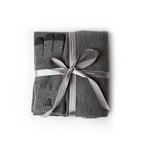 Preisvergleich Produktbild TORRO Schal, Mütze und Touchscreen Handschuh Set - Alles aus 100% Premiumwolle in Kohlegrau