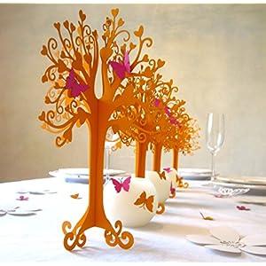Konfirmation |Herzbaum| Tischdeko| mit Schmetterlingen | höhe 23cm ornage 10stk mit 100 Schmetterlingen oder Vögel zum selbst ankleben