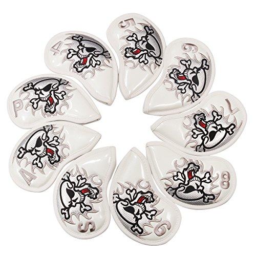 crtystal Leder Skull Head Stickerei Style Golf Club Schlägerhaube Set Displayschutzfolie für Taylormade Titleist Callaway Ping Cobra Mizuno, White 9pcs/Set Iron Cover Set