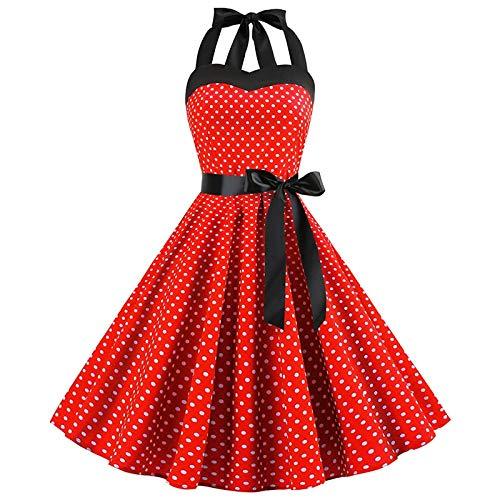 HELULYQ Retro Weiß Polka Dot Kleid Sommer Robe Femme Vintage Pin Kleider XXL A1 -