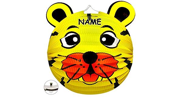 alles-meine.de GmbH 3D Effekt /_ Laterne // Lampion Lampe f/ür Kinder Teddy B/är F.. inkl Laternen Lampions Tiger aus Papier Kerzen Kerze Papierlaterne Name L/öwe