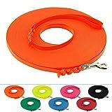 LENNIE Leichte BioThane Schleppleine, 9mm, Hunde bis 5kg, 10m lang, mit Handschlaufe, Neon-Orange, geflochten