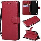 BoxTii Coque LG X Power, Etui en Cuir Flip Portefeuille Housse de Protection avec Gratuit Protection D'écran en Verre Trempé pour LG X Power (Rouge)