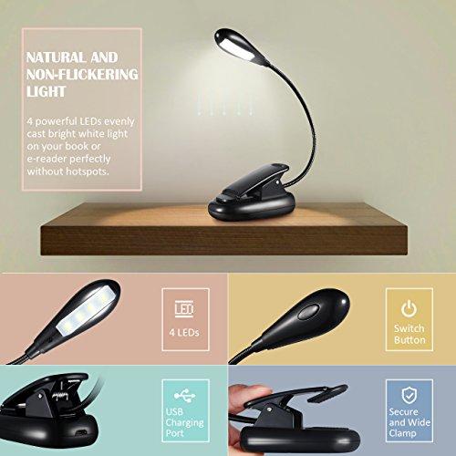 comprare on line Lampada da Libro Litom 4 LED, Libro Lampada con a Clip, Luce libro 2 Livelli di Luminosità Ricaricabile e Flessibile, Lampada da Libro per Lettura, Libri, Scrivania, Viaggio