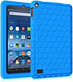 """Fintie Fire 7 2015 Case - [Honey Comb Series] Light Weight [Anti Slip] Shock Proof Silicone Protective Cover [Kids Friendly] for Amazon Fire 7 Tablet (7"""" Display 5th Generation 2015 release), Blue"""