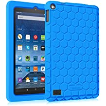 Fintie Fire 7 2015 Funda - [Honey Comb Series] Ligero Case Funda Protectora de Silicón para Amazon Fire (tablet de 7 pulgadas, 5ª generación, modelo de 2015), Azul