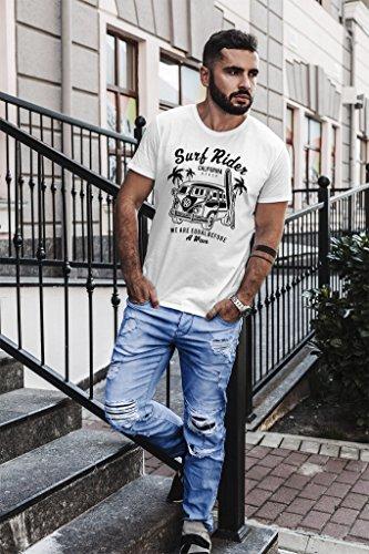 Neverless Herren T-Shirt Bus Bulli Surfing Retro Samba T1 T2 T3 Slim Fit Weiß