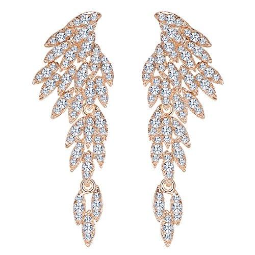 Mecresh - Orecchini pendenti in argento/oro/nero/cristallo multicolore cristallo, gioielli alla moda e base metal, colore: B-gold, cod. EH209-gold